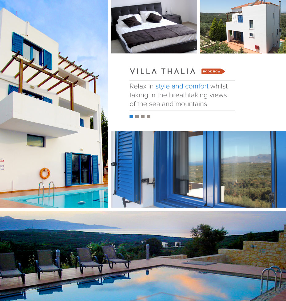 VillaThalia.com, Crete Greece Vacation Rental: Relax in style and comfort whilst taking in the breathtaking views of the sea and mountains.