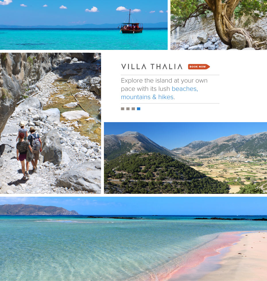 VillaThalia.com, Crete Greece Vacation Rental:  Explore the island at your own pace with its lush beaches, mountains & hikes.